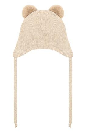 Детского шерстяная шапка CHOBI бежевого цвета, арт. WH-3090 | Фото 2
