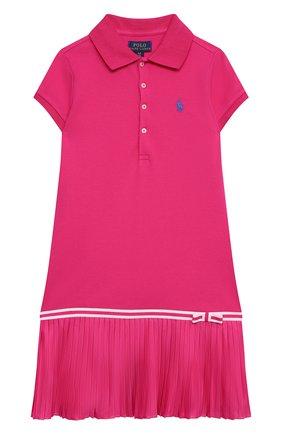Детское хлопковое платье POLO RALPH LAUREN фуксия цвета, арт. 313783903 | Фото 1