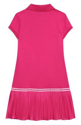 Детское хлопковое платье POLO RALPH LAUREN фуксия цвета, арт. 313783903 | Фото 2