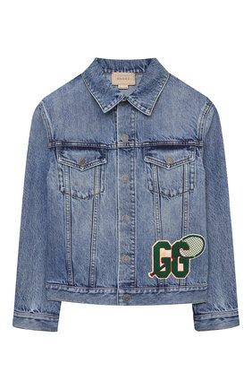 Детского джинсовая куртка GUCCI синего цвета, арт. 638160/XDBJG   Фото 1