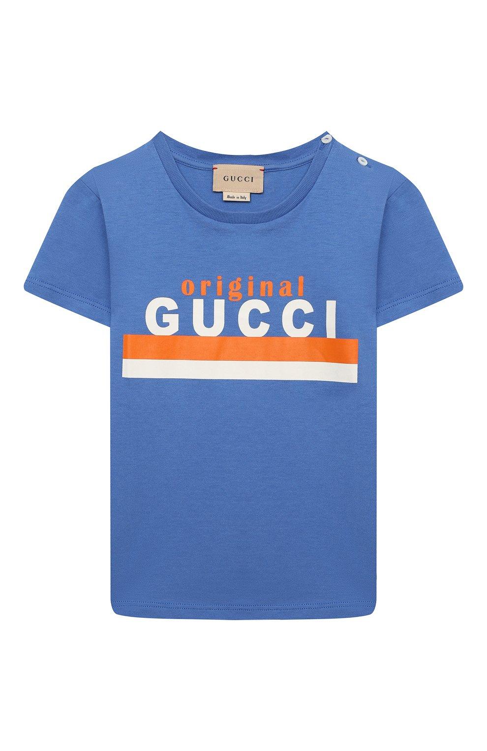 Детский хлопковая футболка GUCCI голубого цвета, арт. 548034/XJC7M | Фото 1