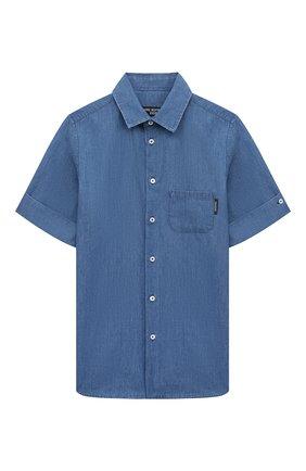 Детская хлопковая рубашка NEIL BARRETT KIDS синего цвета, арт. 027885 | Фото 1 (Случай: Повседневный; Материал внешний: Хлопок; Рукава: Короткие; Ростовка одежда: 10 - 11 лет | 140 - 146см, 13 - 15 лет | 158 см, 8 лет | 128 см)