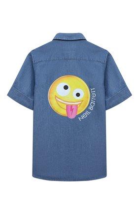 Детская хлопковая рубашка NEIL BARRETT KIDS синего цвета, арт. 027885 | Фото 2 (Случай: Повседневный; Материал внешний: Хлопок; Рукава: Короткие; Ростовка одежда: 10 - 11 лет | 140 - 146см, 13 - 15 лет | 158 см, 8 лет | 128 см)