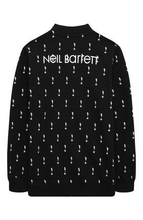 Детский хлопковая толстовка NEIL BARRETT KIDS черного цвета, арт. 027874 | Фото 2