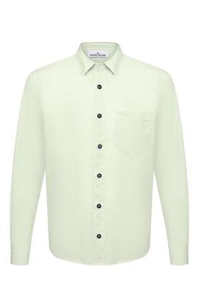 Мужская хлопковая рубашка STONE ISLAND светло-зеленого цвета, арт. 741512510 | Фото 1 (Рубашки М: Regular Fit; Стили: Кэжуэл; Материал внешний: Хлопок; Случай: Повседневный; Рукава: Длинные; Длина (для топов): Стандартные; Воротник: Кент; Принт: Однотонные; Манжеты: На пуговицах)