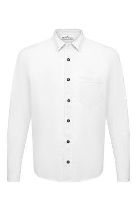 Мужская хлопковая рубашка STONE ISLAND белого цвета, арт. 741512510 | Фото 1