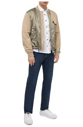 Мужская хлопковая рубашка STONE ISLAND белого цвета, арт. 741512510 | Фото 2