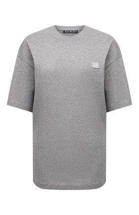 Женская хлопковая футболка ACNE STUDIOS светло-серого цвета, арт. CL0085/W   Фото 1