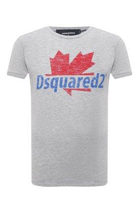 Мужская футболка из хлопка и вискозы DSQUARED2 серого цвета, арт. S74GD0819/S22146 | Фото 1 (Рукава: Короткие; Длина (для топов): Стандартные; Стили: Гранж; Принт: С принтом; Материал внешний: Хлопок)