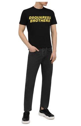 Мужская хлопковая футболка DSQUARED2 черного цвета, арт. S74GD0825/S22427   Фото 2