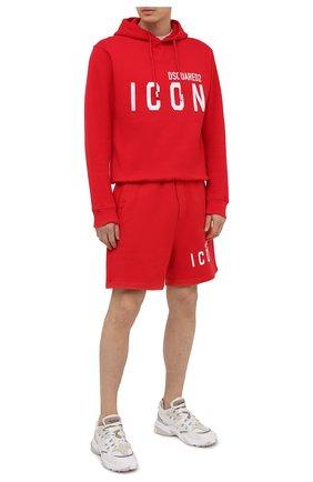 Мужские хлопковые шорты DSQUARED2 красного цвета, арт. S79MU0005/S25042   Фото 2