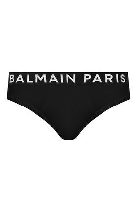 Мужские хлопковые брифы BALMAIN черного цвета, арт. BRL615180   Фото 1