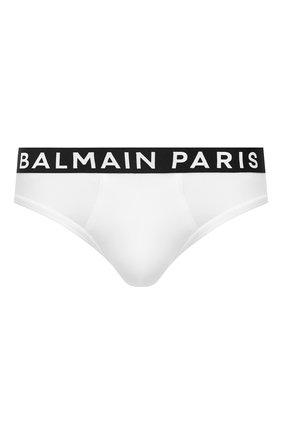 Мужские хлопковые брифы BALMAIN белого цвета, арт. BRL615180 | Фото 1