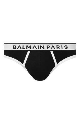 Мужские хлопковые брифы BALMAIN черного цвета, арт. BRL615200   Фото 1 (Материал внешний: Хлопок; Кросс-КТ: бельё; Мужское Кросс-КТ: Трусы)