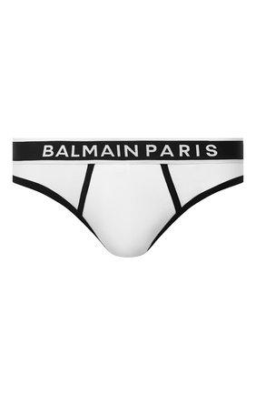 Мужские хлопковые брифы BALMAIN белого цвета, арт. BRL615200 | Фото 1