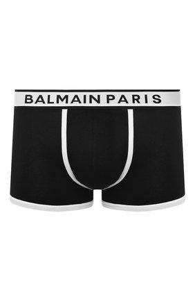 Мужские хлопковые боксеры BALMAIN черного цвета, арт. BRLD55200   Фото 1 (Материал внешний: Хлопок; Кросс-КТ: бельё; Мужское Кросс-КТ: Трусы)