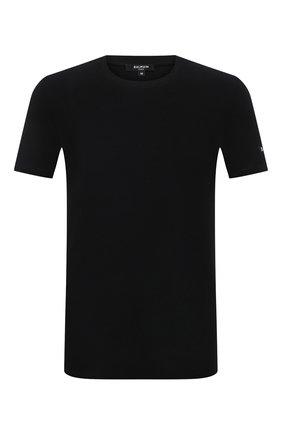 Мужская хлопковая футболка BALMAIN черного цвета, арт. BRM205180   Фото 1