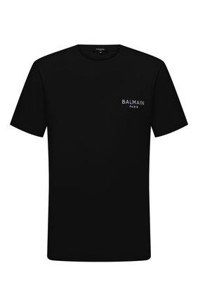 Мужская хлопковая футболка BALMAIN черного цвета, арт. BRM305210 | Фото 1