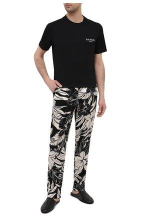 Мужская хлопковая футболка BALMAIN черного цвета, арт. BRM305210 | Фото 2