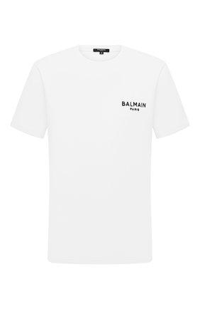 Мужская хлопковая футболка BALMAIN белого цвета, арт. BRM305210 | Фото 1