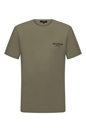 Мужская хлопковая футболка BALMAIN хаки цвета, арт. BRM305210 | Фото 1