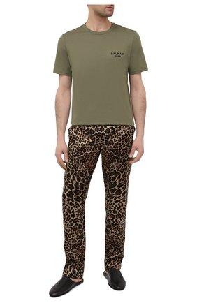 Мужская хлопковая футболка BALMAIN хаки цвета, арт. BRM305210 | Фото 2