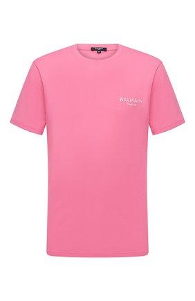 Мужская хлопковая футболка BALMAIN розового цвета, арт. BRM305210 | Фото 1