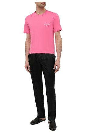 Мужская хлопковая футболка BALMAIN розового цвета, арт. BRM305210 | Фото 2