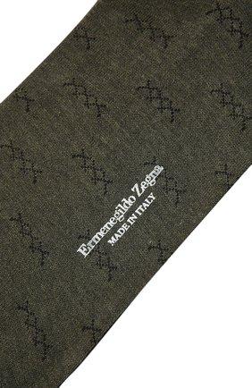 Мужские хлопковые носки ERMENEGILDO ZEGNA хаки цвета, арт. N5V403810 | Фото 2