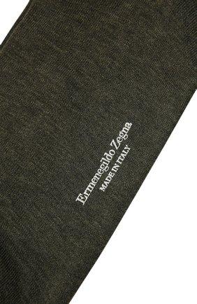 Мужские хлопковые носки ERMENEGILDO ZEGNA темно-зеленого цвета, арт. N5V403820   Фото 2