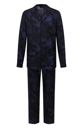 Мужская шелковая пижама ERMENEGILDO ZEGNA синего цвета, арт. N6H001120   Фото 1