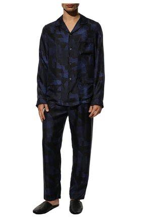 Мужская шелковая пижама ERMENEGILDO ZEGNA синего цвета, арт. N6H001120   Фото 2