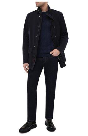 Мужской свитер изо льна и хлопка DANIELE FIESOLI темно-синего цвета, арт. DF 0510 | Фото 2