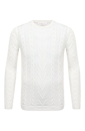 Мужской свитер изо льна и хлопка DANIELE FIESOLI белого цвета, арт. DF 0510   Фото 1