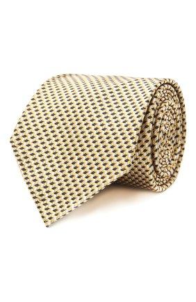 Мужской шелковый галстук BRIONI желтого цвета, арт. 061G00/P0427 | Фото 1 (Материал: Шелк, Текстиль; Принт: С принтом)