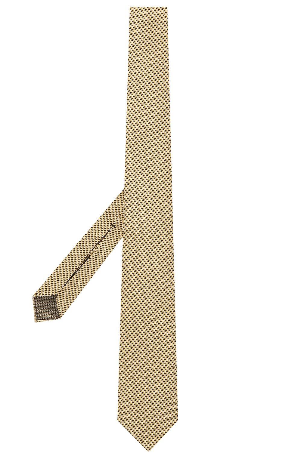 Мужской шелковый галстук BRIONI желтого цвета, арт. 061G00/P0427 | Фото 2