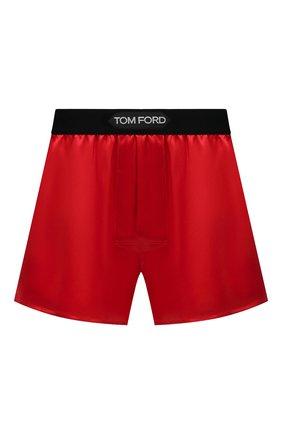 Мужские шелковые боксеры TOM FORD красного цвета, арт. T4LE41010 | Фото 1 (Кросс-КТ: бельё; Материал внешний: Шелк; Мужское Кросс-КТ: Трусы)