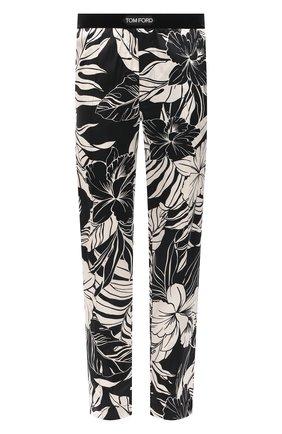 Мужские домашние шелковые брюки TOM FORD черно-белого цвета, арт. T4H121370 | Фото 1