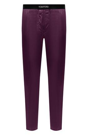 Мужские домашние шелковые брюки TOM FORD сиреневого цвета, арт. T4H121010   Фото 1