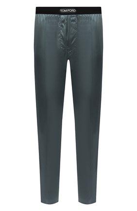 Мужские домашние шелковые брюки TOM FORD зеленого цвета, арт. T4H121010   Фото 1 (Материал внешний: Шелк; Длина (брюки, джинсы): Стандартные; Мужское Кросс-КТ: Брюки-белье; Кросс-КТ: домашняя одежда)