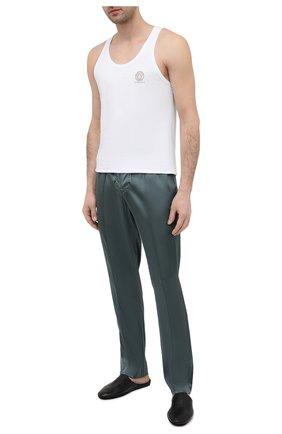 Мужские домашние шелковые брюки TOM FORD зеленого цвета, арт. T4H121010   Фото 2 (Материал внешний: Шелк; Длина (брюки, джинсы): Стандартные; Мужское Кросс-КТ: Брюки-белье; Кросс-КТ: домашняя одежда)