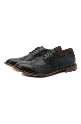 Мужские кожаные дерби MOMA темно-синего цвета, арт. 2AS132-S0 | Фото 1 (Мужское Кросс-КТ: Броги-обувь; Материал внутренний: Натуральная кожа; Стили: Классический)