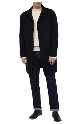 Мужские кожаные дерби MOMA темно-синего цвета, арт. 2AS132-S0 | Фото 2 (Мужское Кросс-КТ: Броги-обувь; Материал внутренний: Натуральная кожа; Стили: Классический)