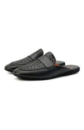 Мужского домашние кожаные туфли SANTONI темно-синего цвета, арт. PMXXA2032XXX1CLBU42 | Фото 1