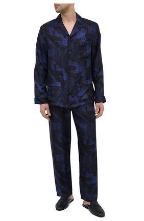 Мужского домашние кожаные туфли SANTONI темно-синего цвета, арт. PMXXA2032XXX1CLBU42 | Фото 2