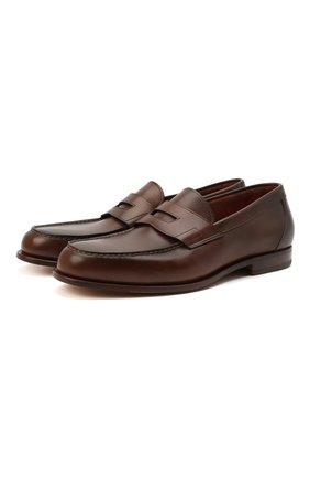 Мужские кожаные пенни-лоферы SANTONI коричневого цвета, арт. MCQU13207LA3S0RMC45 | Фото 1 (Стили: Классический; Материал внутренний: Натуральная кожа)