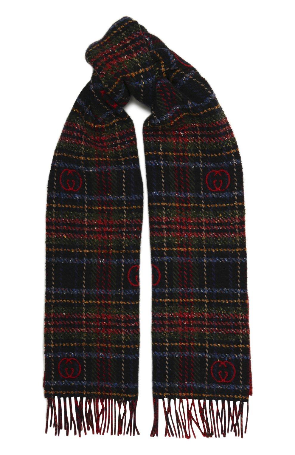 Мужской шарф из шерсти и шелка GUCCI разноцветного цвета, арт. 643208/4GAAB | Фото 1 (Материал: Шерсть; Кросс-КТ: шерсть)