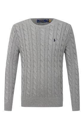 Мужской хлопковый свитер POLO RALPH LAUREN серого цвета, арт. 710775885 | Фото 1 (Стили: Кэжуэл; Рукава: Длинные; Длина (для топов): Стандартные; Материал внешний: Хлопок; Принт: Без принта)