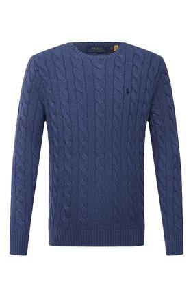 Мужской хлопковый свитер POLO RALPH LAUREN синего цвета, арт. 710775885   Фото 1