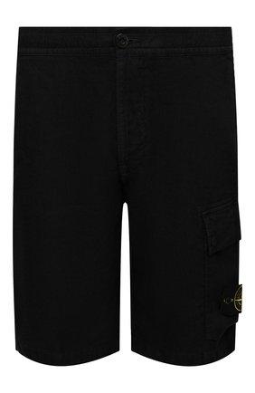 Мужские льняные шорты STONE ISLAND черного цвета, арт. 7415L1201 | Фото 1
